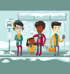 frozen multicultural people waiting for bus vector image