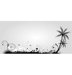 gray banner palm vector image vector image