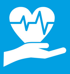 Hand holding heart with ecg line icon white vector