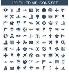 100 air icons vector image
