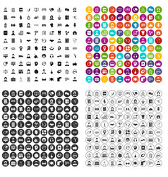 100 fellow worker icons set variant vector
