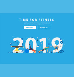 2019 new year fitness concept workout vector image