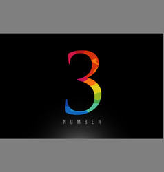 3 number rainbow colored logo company icon design vector