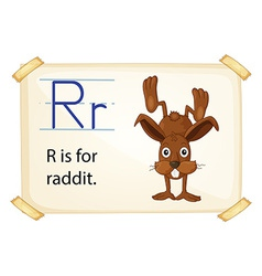 A letter R for rabbit vector