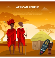 African People And Culture Flat Poster vector
