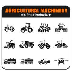 Agricultural vehicles icons set vector