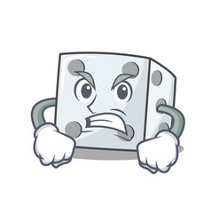 Angry dice character cartoon style vector