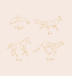 animal pen line dolphin beige animal pen line vector image