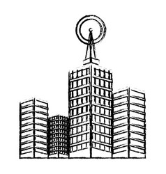 Antenna on buildings in the city technology vector