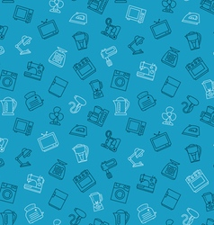 Appliances seamless pattern outline blue vector image