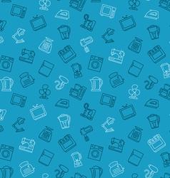 Appliances seamless pattern outline blue vector