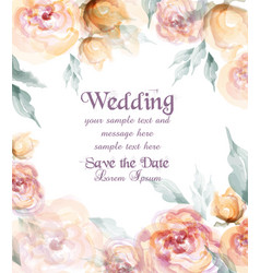 beautiful wedding card with watercolor flowers vector image