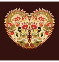 Boho heart Tribal style card vector