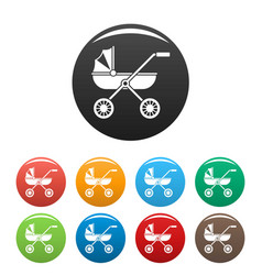 brand baby pram icons set color vector image