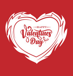 burning heart with happy valentines day vector image