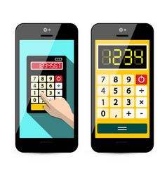 Calculator app on mobile phone isolated on white vector