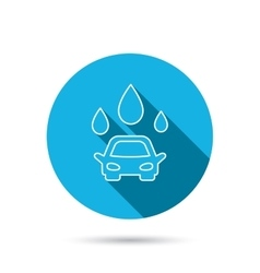 Car wash icon Cleaning station with water drops vector image