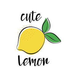 Card with cute lemon isolated on white vector