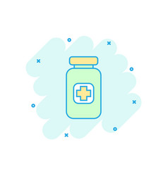 cartoon pill icon in comic style tablet concept vector image