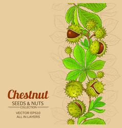 chestnut plant pattern on color background vector image
