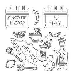 Cinco de mayo line icons set vector