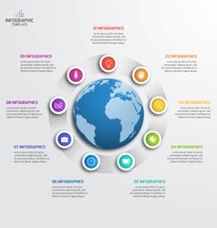 Circle infographic template with globe 9 options vector