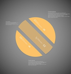Circle template consists of three orange parts on vector