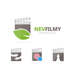 clapperboard and leaf logo combination vector image