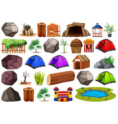 collection outdoor nature themed objects and vector image