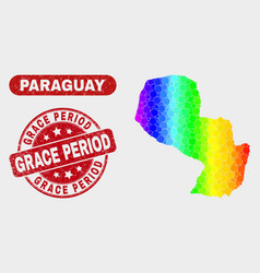 Colored mosaic paraguay map and distress grace vector