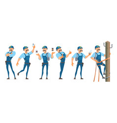 Colorful electrician characters set vector