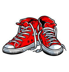 Colorful red trendy sneakers concept vector