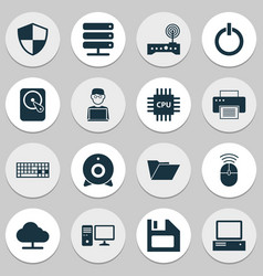 Computer icons set collection hdd personal vector