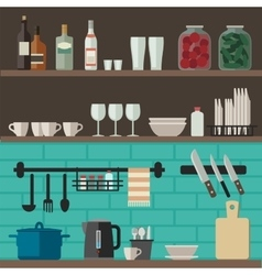 Cooking utensils on shelves vector