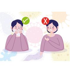 Covid19 19 prevention symptoms cough cover vector