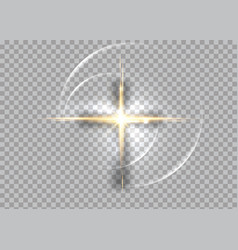 Cross light shiny cross with golden frame sign vector