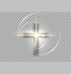 Cross light shiny with golden frame sign vector