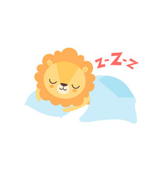 cute lion sleeping in bed funny african animal vector image