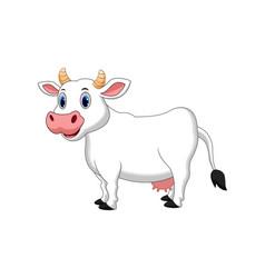 Cute white cow cartoon vector