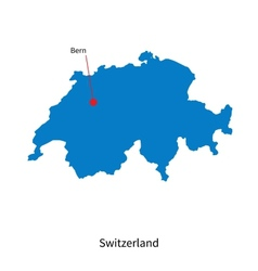 Detailed map of Switzerland and capital city Bern vector