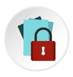 Document protection icon flat style vector image
