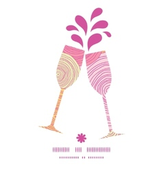 Doodle circle texture toasting wine glasses vector