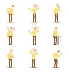 Elderly man diseases pain problem in back neck vector