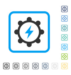 electric energy cogwheel framed icon vector image