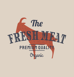 emblem of butchery meat shop with goat silhouette vector image