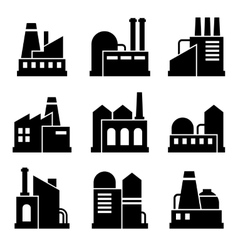 Factory and Power Industrial Building Icon Set vector