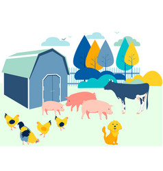 farm yard animals flat in minimalist style vector image