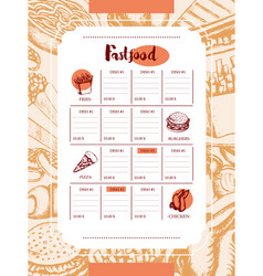 fast food - color hand drawn vintage template menu vector image