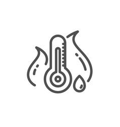 Fever temperature line icon thermometer sign vector