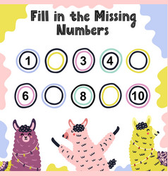 Fill in missing numbers activity game for kids vector
